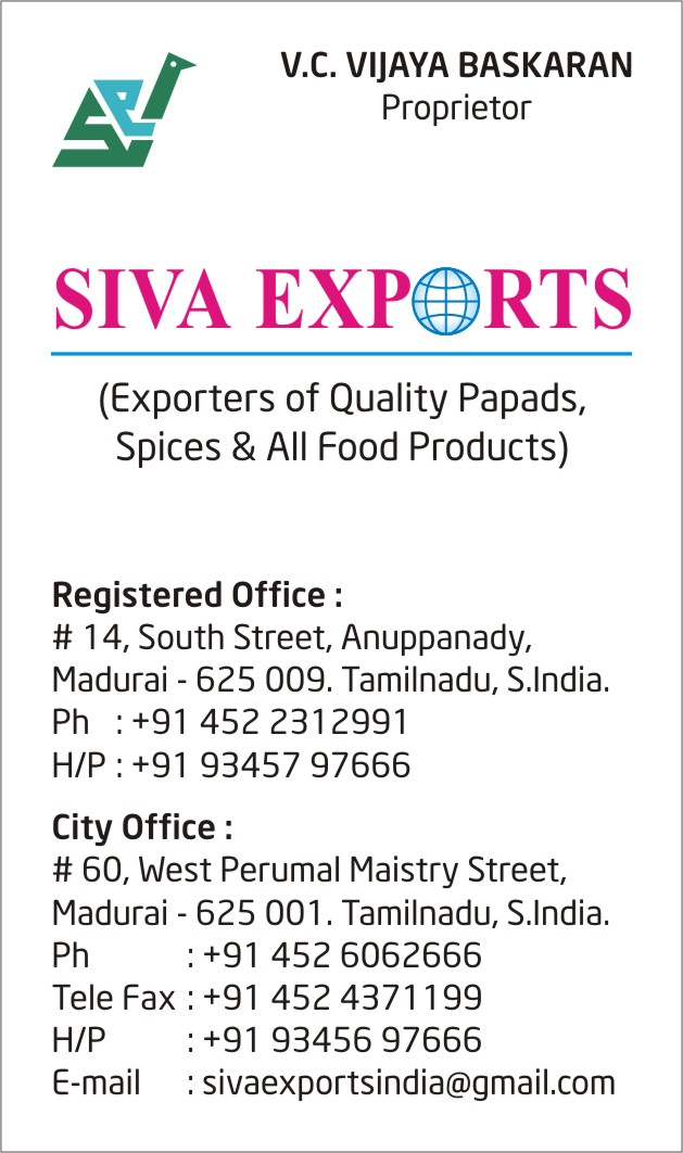 appalam manufacturers in india, papad manufacturers in india, appalam manufacturers in tamilnadu, papad manufacturers in tamilnadu, appalam manufacturers in madurai, papad manufacturers in madurai, appalam exporters in india, papad exporters in india, appalam exporters in tamilnadu, papad exporters in tamilnadu, appalam exporters in madurai, papad exporters in madurai, appalam wholesalers in india, papad wholesalers in india, appalam wholesalers in tamilnadu, papad wholesalers in tamilnadu, appalam wholesalers in madurai, papad wholesalers in madurai, appalam distributors in india, papad distributors in india, appalam distributors in tamilnadu, papad distributors in tamilnadu, appalam distributors in madurai, papad distributors in madurai, appalam companies in india, appalam companies in tamilnadu, appalam companies in madurai, papad companies in india, papad companies in tamilnadu, papad companies in madurai, appalam company in india, appalam company in tamilnadu, appalam company in madurai, papad company in india, papad company in tamilnadu, papad company in madurai, appalam factory in india, appalam factory in tamilnadu, appalam factory in madurai, papad factory in india, papad factory in tamilnadu, papad factory in madurai, appalam factories in india, appalam factories in tamilnadu, appalam factories in madurai, papad factories in india, papad factories in tamilnadu, papad factories in madurai, appalam production units in india, appalam production units in tamilnadu, appalam production units in madurai, papad production units in india, papad production units in tamilnadu, papad production units in madurai, pappadam manufacturers in india, poppadom manufacturers in india, pappadam manufacturers in tamilnadu, poppadom manufacturers in tamilnadu, pappadam manufacturers in madurai, poppadom manufacturers in madurai, appalam manufacturers, papad manufacturers, pappadam manufacturers, pappadum exporters in india, pappadam exporters in india, poppadom exporters in india, pappadam exporters in tamilnadu, pappadum exporters in tamilnadu, poppadom exporters in tamilnadu, pappadum exporters in madurai, pappadam exporters in madurai, poppadom exporters in Madurai, pappadum wholesalers in madurai, pappadam wholesalers in madurai, poppadom wholesalers in Madurai, pappadum wholesalers in tamilnadu, pappadam wholesalers in tamilnadu, poppadom wholesalers in Tamilnadu, pappadam wholesalers in india, poppadom wholesalers in india, pappadum wholesalers in india, appalam, papad, Siva Exports, Orange Appalam, Oranga Papad, Lion Brand Appalam, Siva Appalam, Lion brand Papad, appalam retailers in india, papad retailers in india, appalam retailers in tamilnadu, papad retailers in tamilnadu, appalam retailers in madurai, papad retailers in madurai,